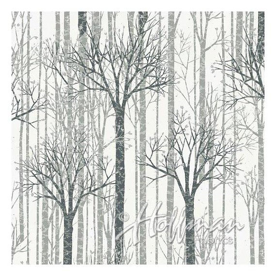 Hoffman Fabrics Warm Wishes - White Silver Trees