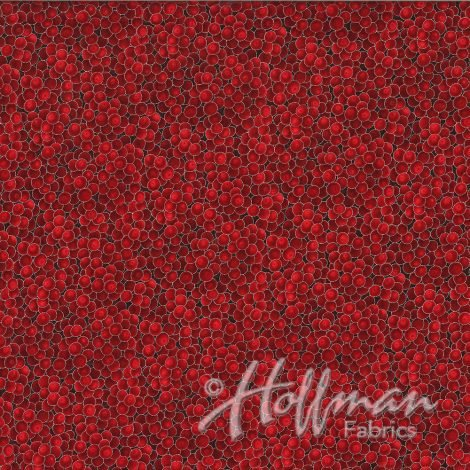 Hoffman Fabrics Classic Christmas - Red/Silver Berries