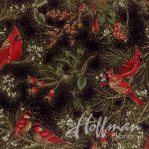 Hoffman Fabrics Warm Wishes - Black/Gold Cardinals