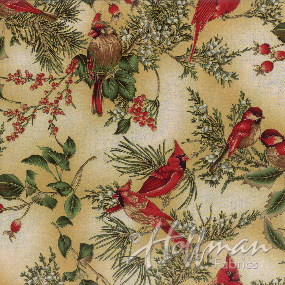 Hoffman Fabrics Warm Wishes - Natural/Gold Cardinals