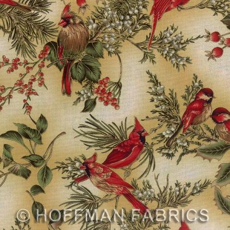 Hoffman Fabrics Warm Wishes - Cream/Gold Cardinals