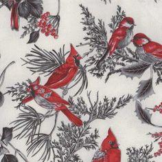 Hoffman Fabrics Warm Wishes - Fog/Silver Cardinals
