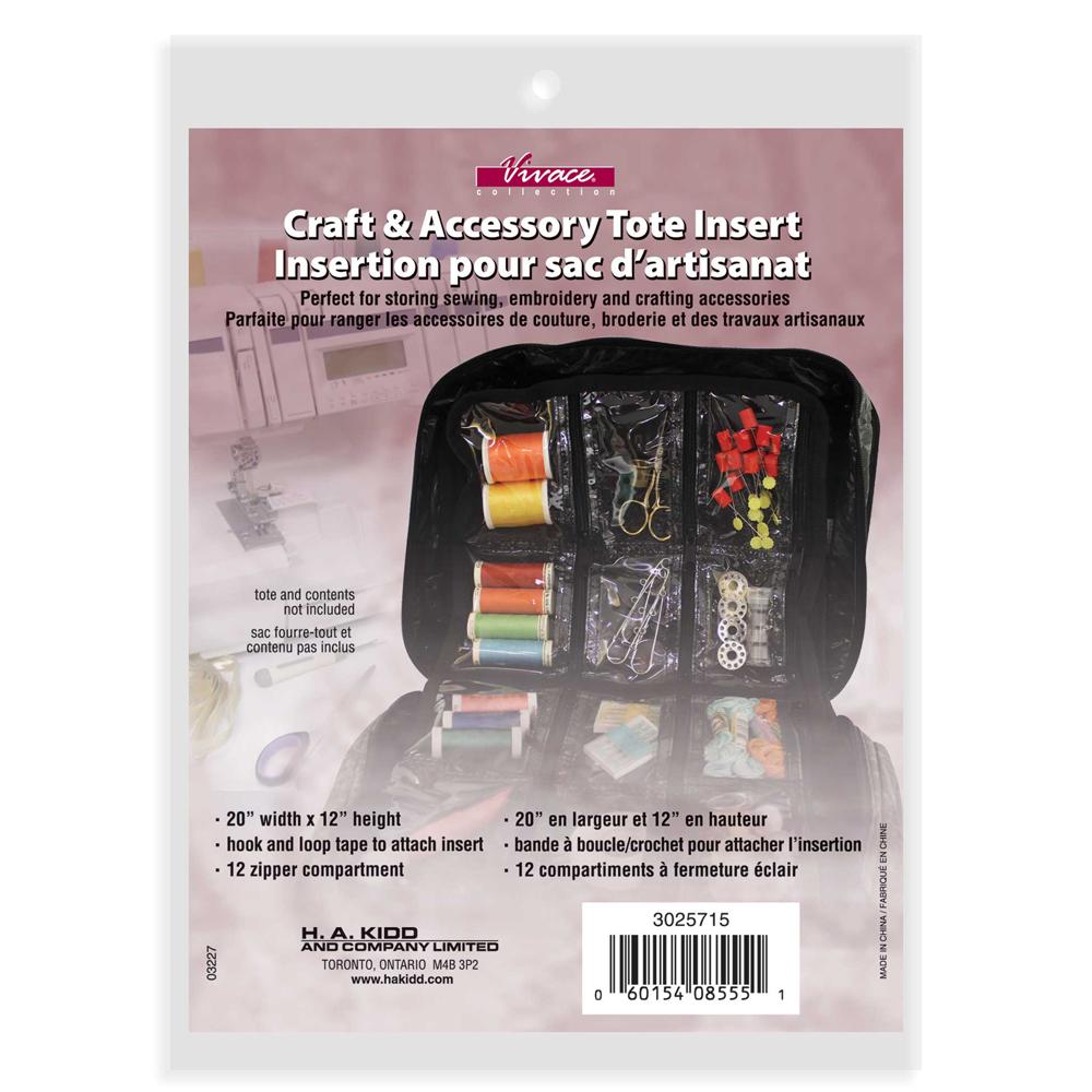 VIVACE Craft Tote Inserts 12 Pockets Black - 30 x 51cm (12 x 20)