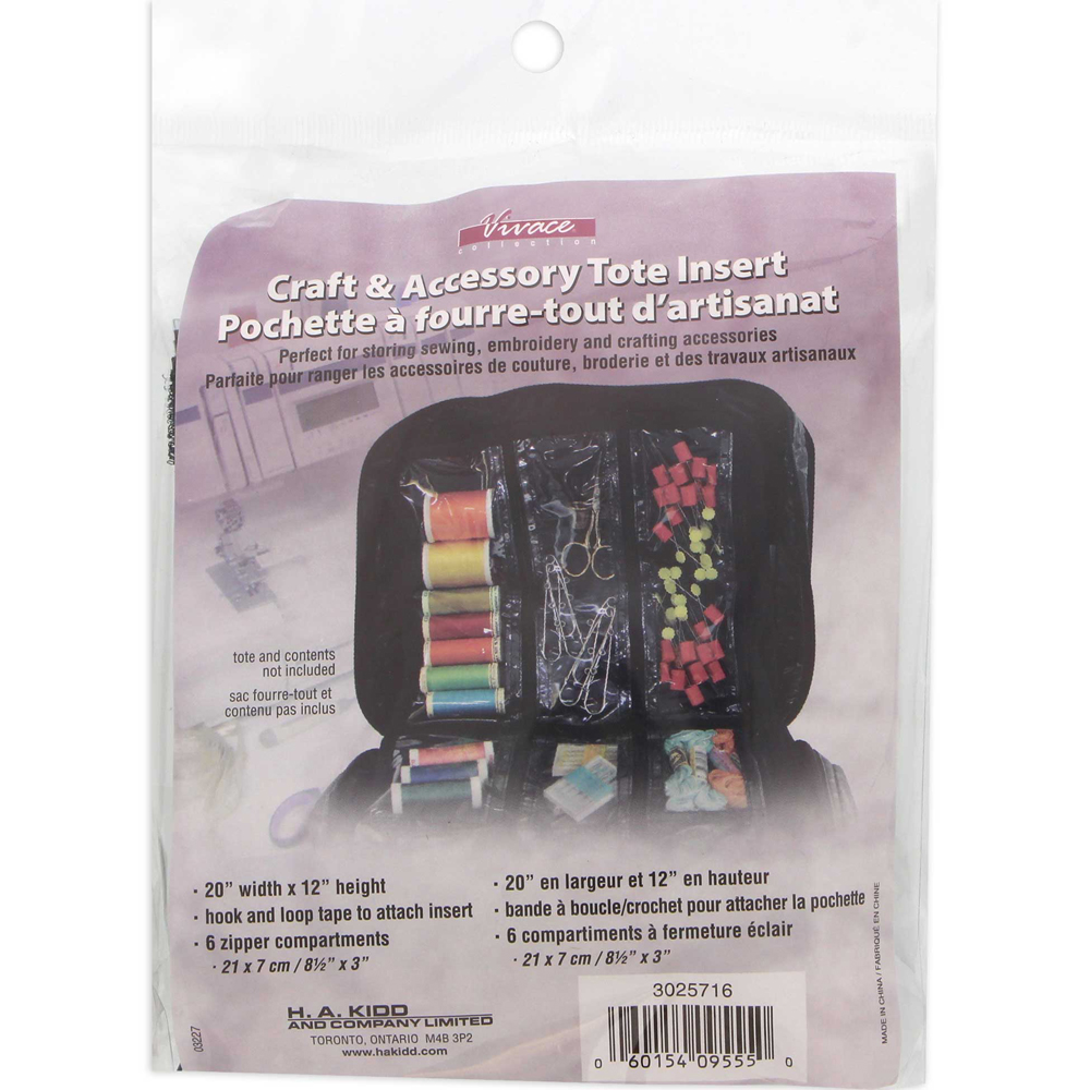 VIVACE Craft Tote Inserts 6 Pockets Black - 51cm x 30.5 cm (20 x 12)