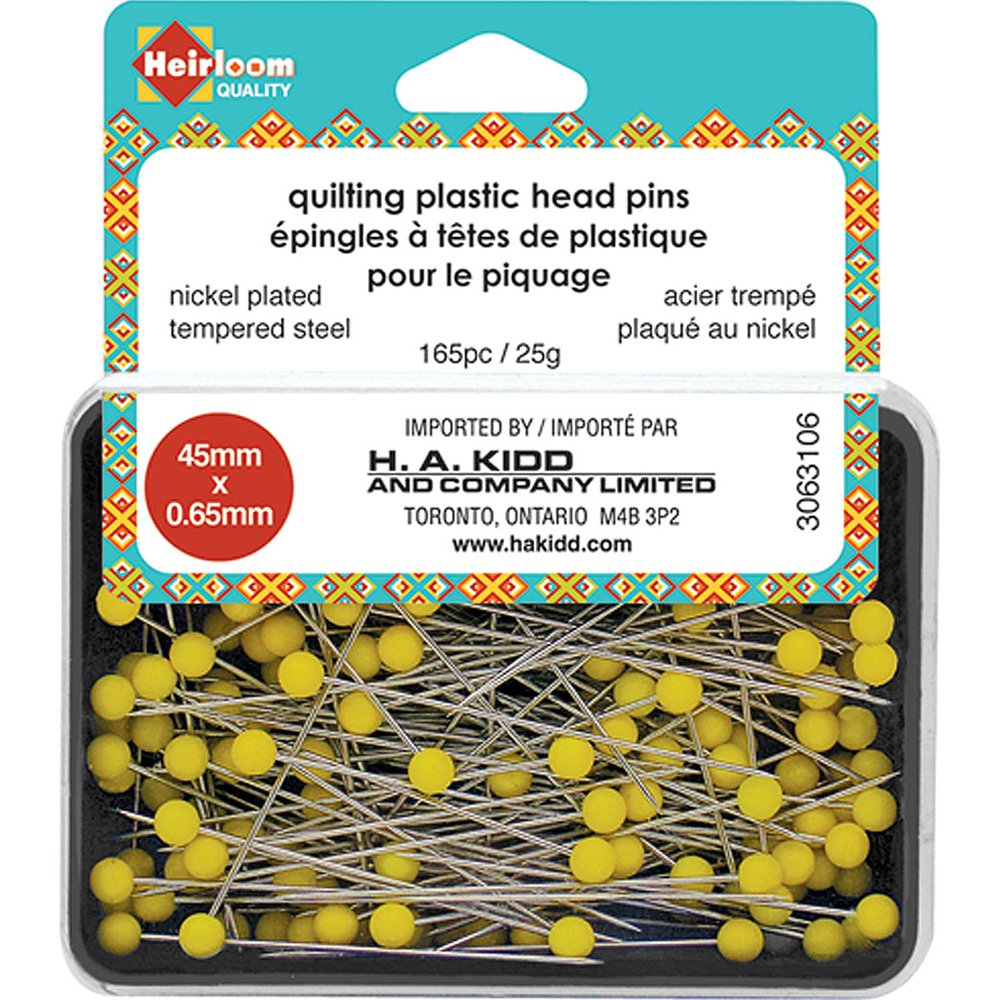 HEIRLOOM Quilting Plastic Head Pins - Yellow - 45mm (1 3/4)