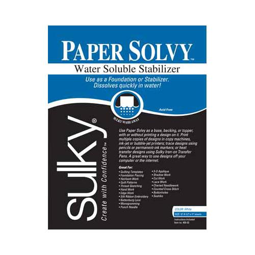 SULKY Paper Solvy - White - 21.5 x 28cm (81⁄2 x 11) - 12 sheets