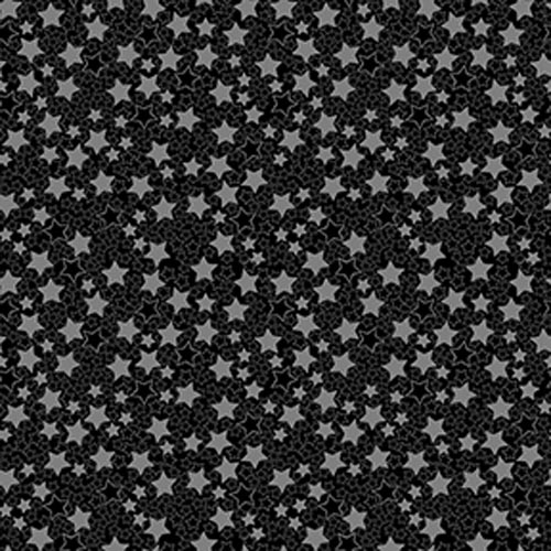 Quilters Basic Harmony Black with Pink Stars