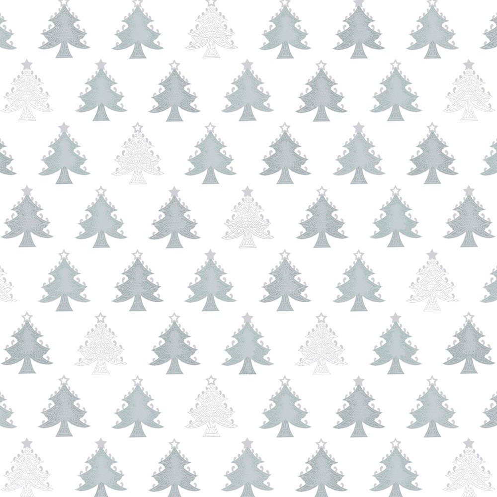 Stof Amazing Stars  - White with Silver Trees 4594-102