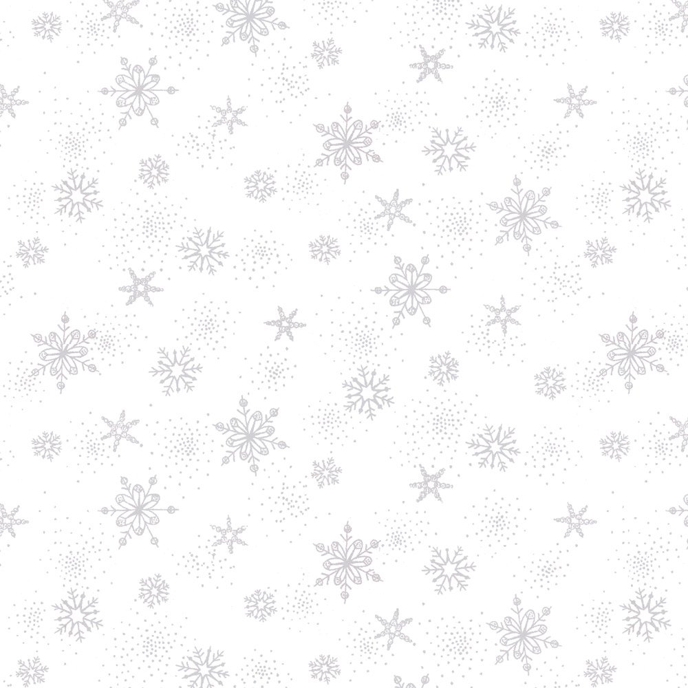 Stof Amazing Stars  - White with Small Silver Snowflakes 4594-108