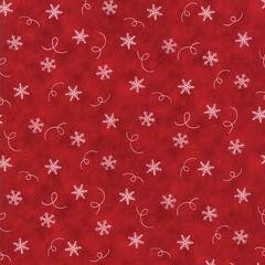 Hearthside Holiday Brushed - Red with snowflakes