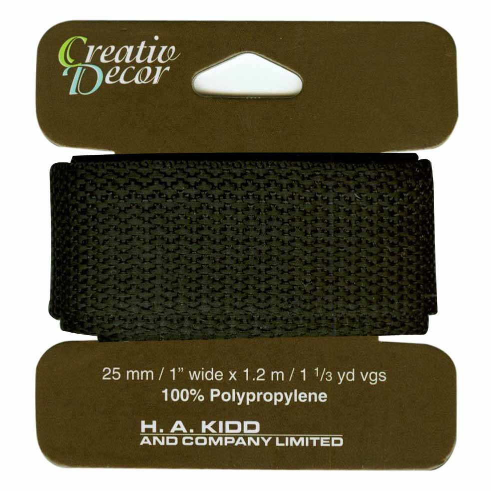 CREATIV DACOR Webbing 25mm x 1.2m (1 x 1 1/4yd) - Black