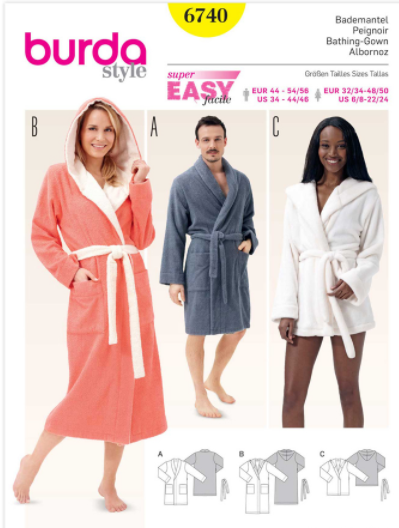 BURDA - 6740 Unisex Bathrobe