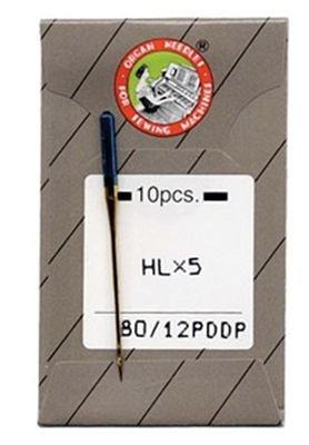 Organ Top Stitch Needles Flat Shank Regular Point Titanium 12/80