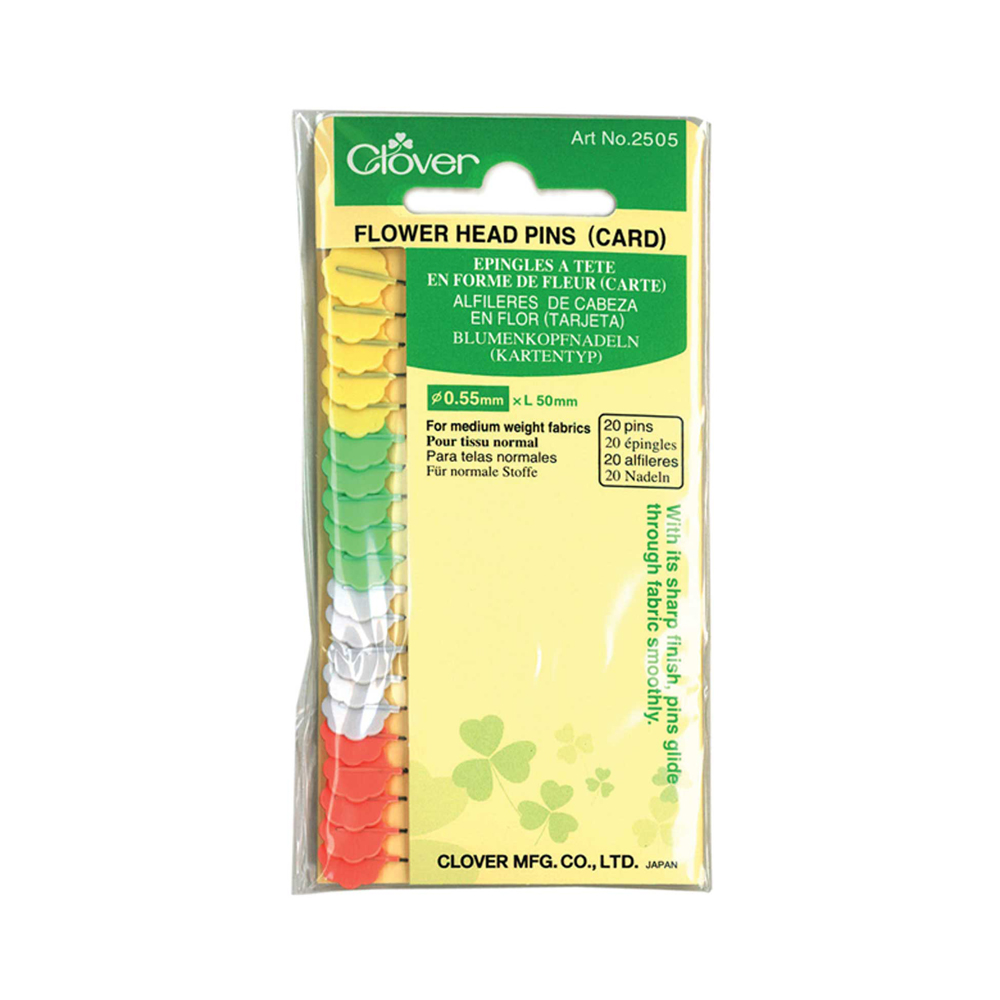 CLOVER 2505 - Flower Head Pins (Carded) - 50mm (2)