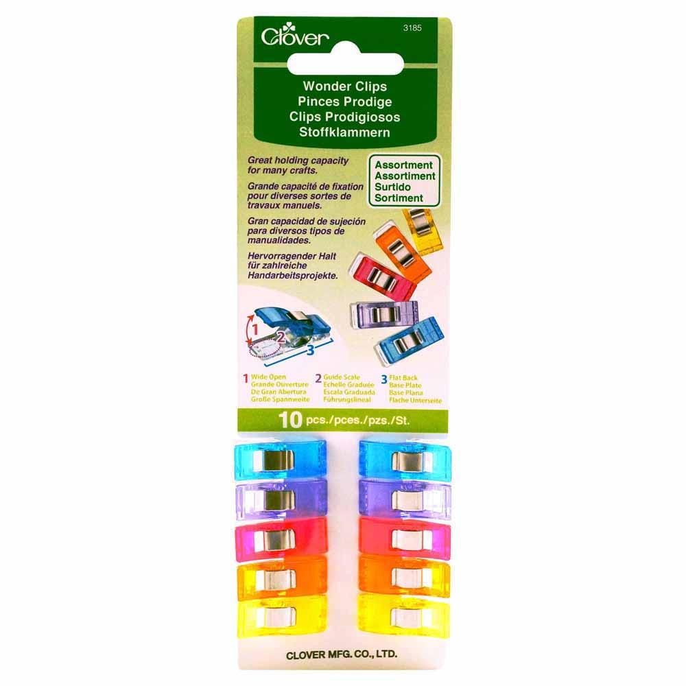 CLOVER 3185 - Wonder Clips -Assorted Colours - 10pcs