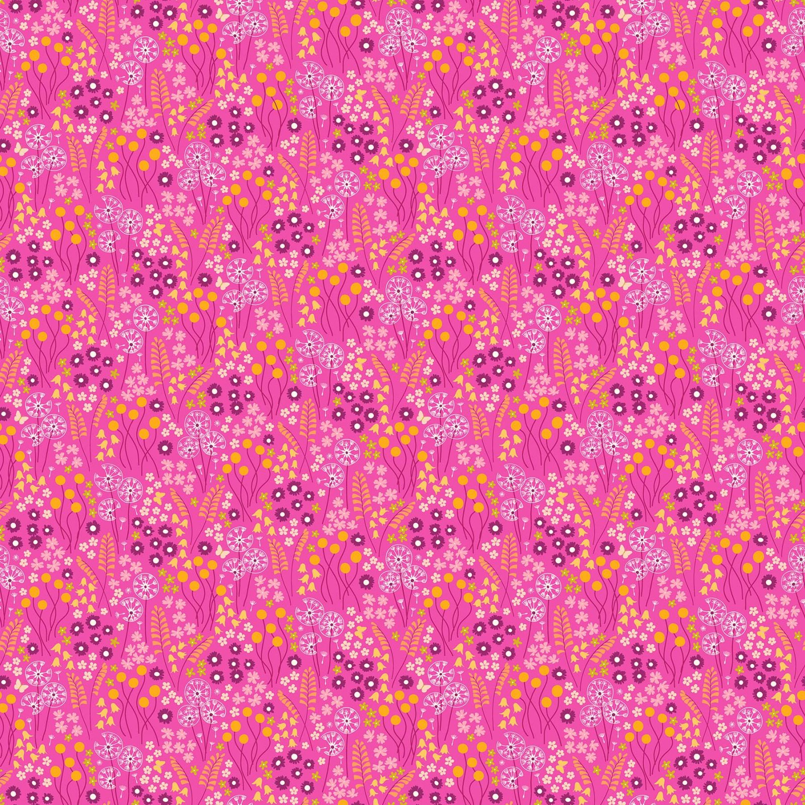 FIGO Fabrics - Mountain Meadows - Flowers on Pink - 90000-23