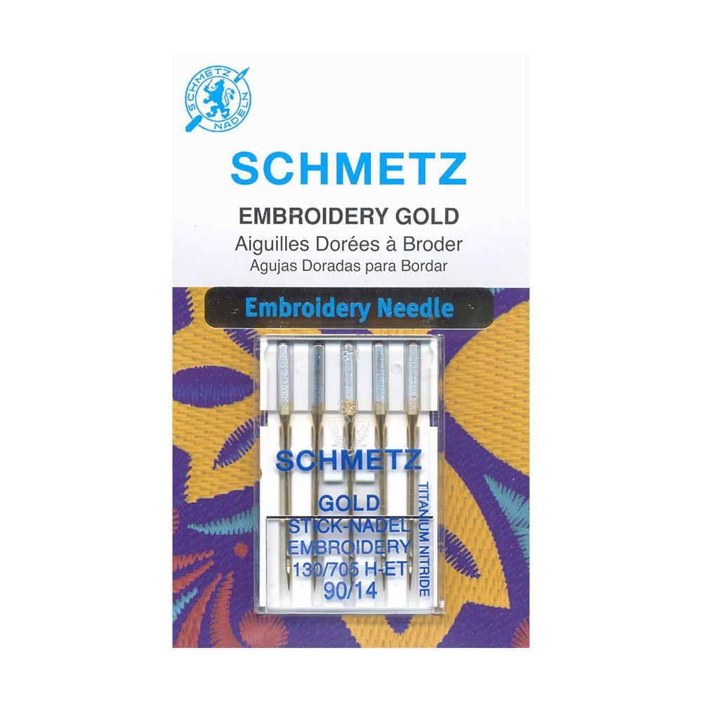 SCHMETZ Gold Titanium Embroidery Needles Carded - 90/14 - 5 Pieces