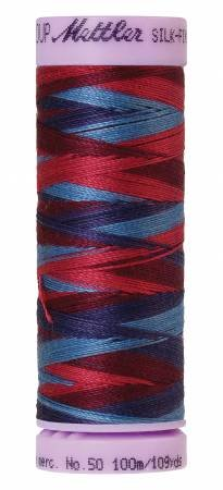 Mettler Silk-Finish 50wt Variegated Cotton Thread 109yd/100M Berry Rich