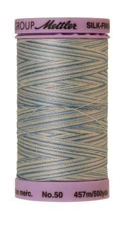 Mettler Silk-Finish 50wt Variegated Cotton Thread 500yd/457M Tranquil Blue