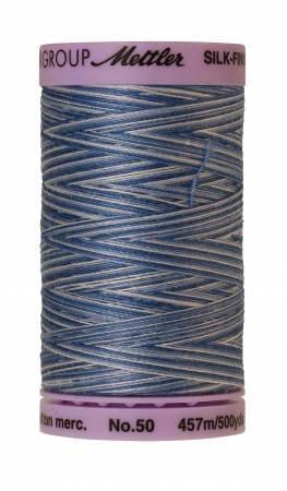 Mettler Silk-Finish 50wt Variegated Cotton Thread 500yd/457M Clear Sky