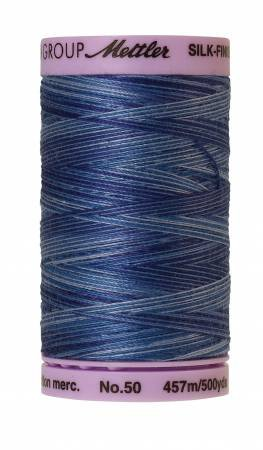 Mettler Silk-Finish 50wt Variegated Cotton Thread 500yd/457M Evening Blue