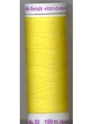 Mettler Silk-Finish 50wt Solid Cotton Thread 164yd/150M Lemon Zest