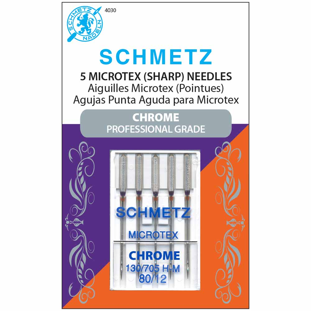 SCHMETZ #4030 Chrome Microtex - 80/12 - 5 count