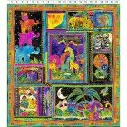 MYTHICAL JUNGLE BY LAUREL BURCH BLACK ANIMAL PANEL