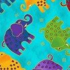 MYTHICAL JUNGLE BY LAUREL BURCH DK AQUA ELEPHANTS
