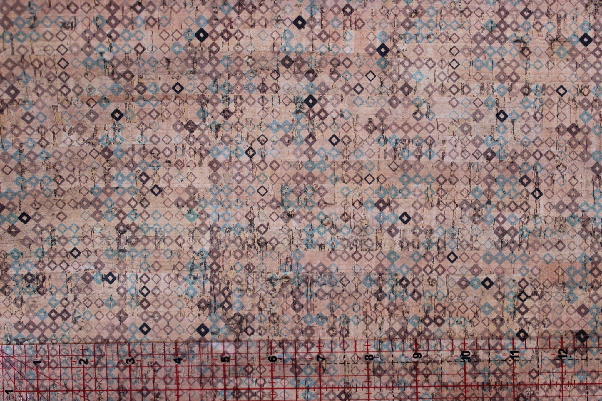 Printed Tiny Diamonds Cork Fabric (18x18)