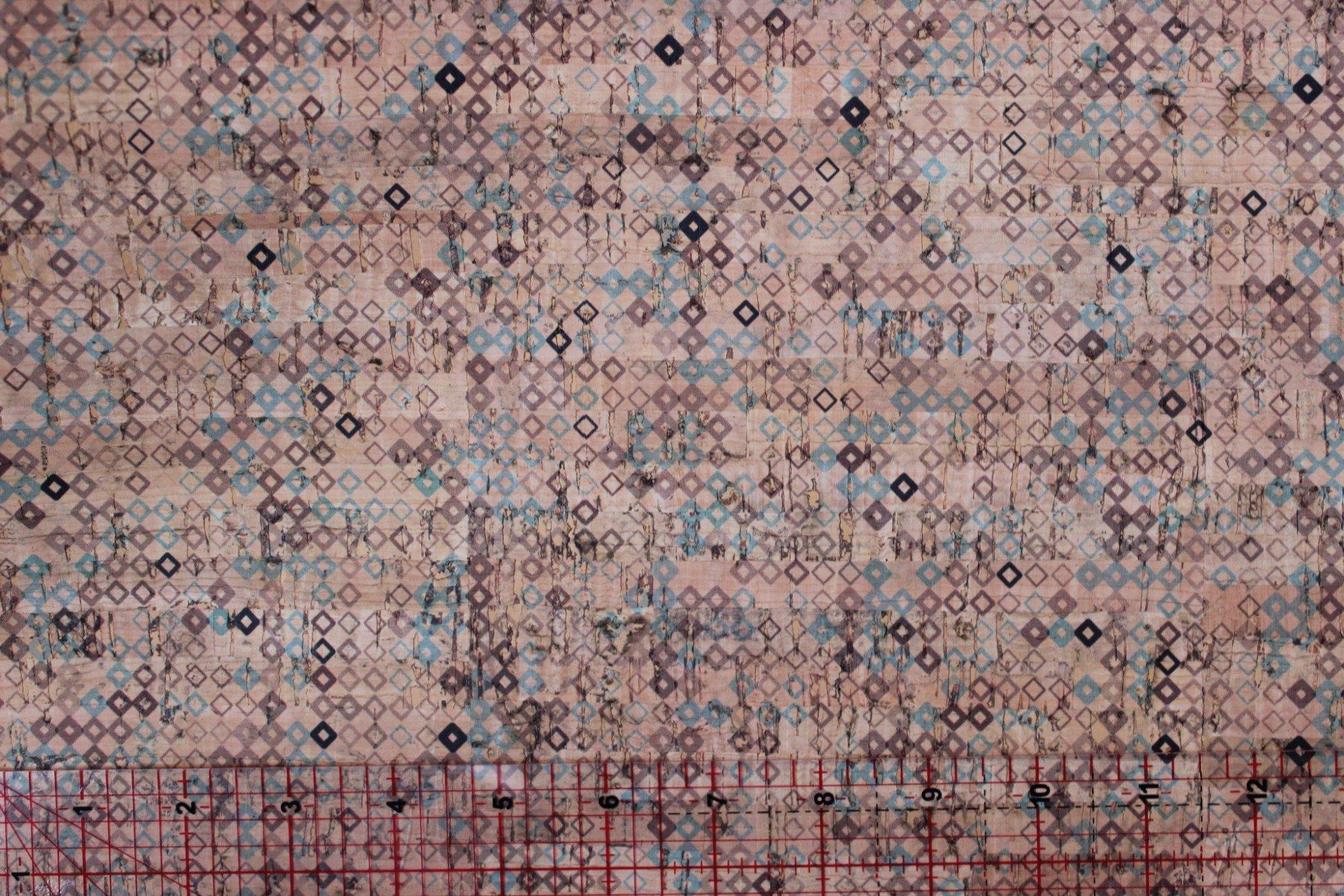 Printed Tiny Diamonds Cork Fabric (18x36)
