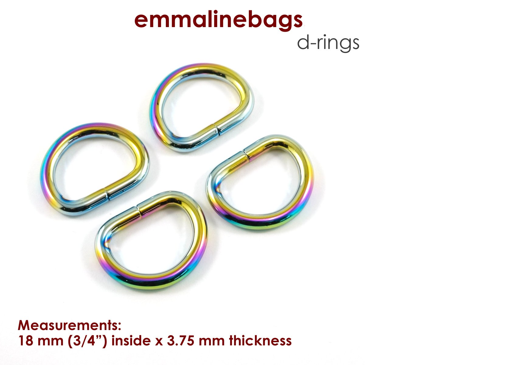 D-Rings 3/4 Iridescent Rainbow Finish (4 pack)