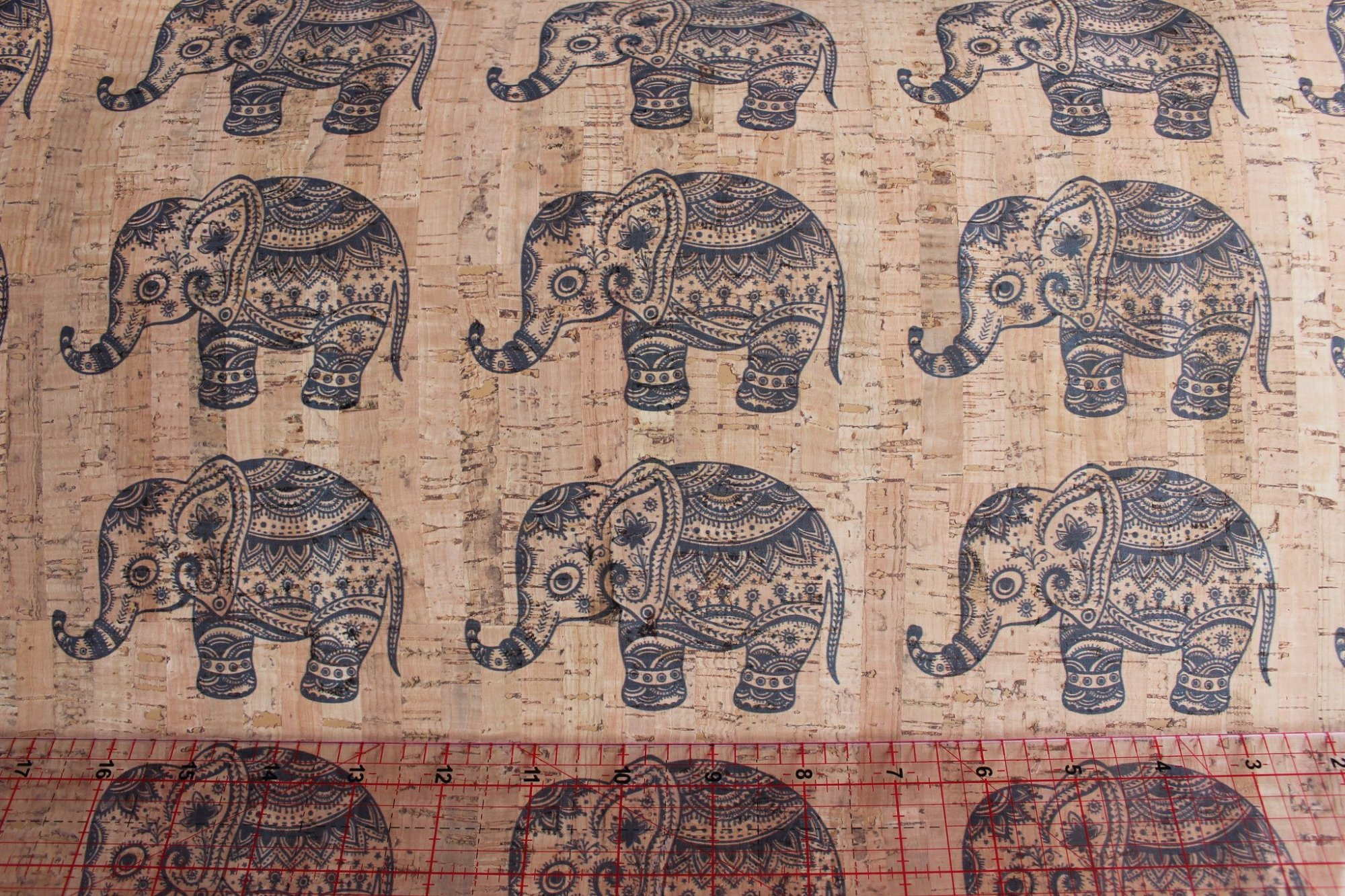 Printed Elephants Cork Fabric (36x36)