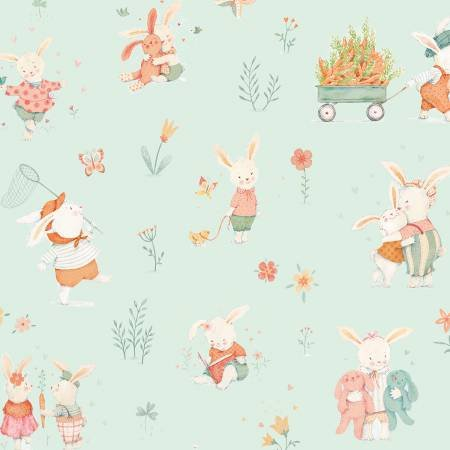 Bunny Tales Blue Bunny Scene Flannel