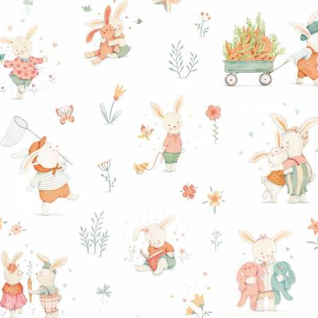 Bunny Tales White Bunny Scene Flannel