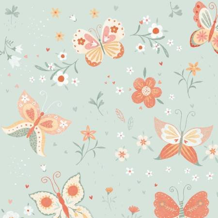 Bunny Tales Blue Butterfy Flannel