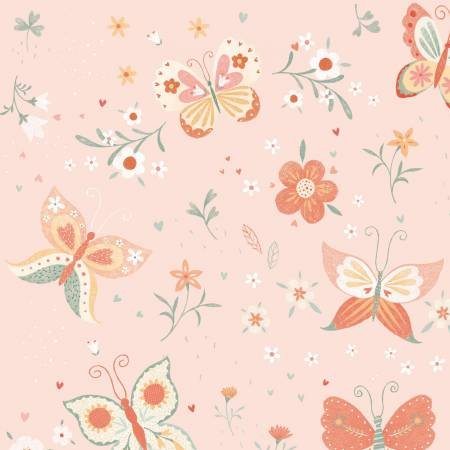 Bunny Tales Pink Butterfly Flannel
