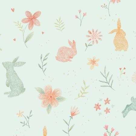 Bunny Tales Blue Bunnies Flannel