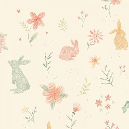 Bunny Tales Cream Bunnies Flannel