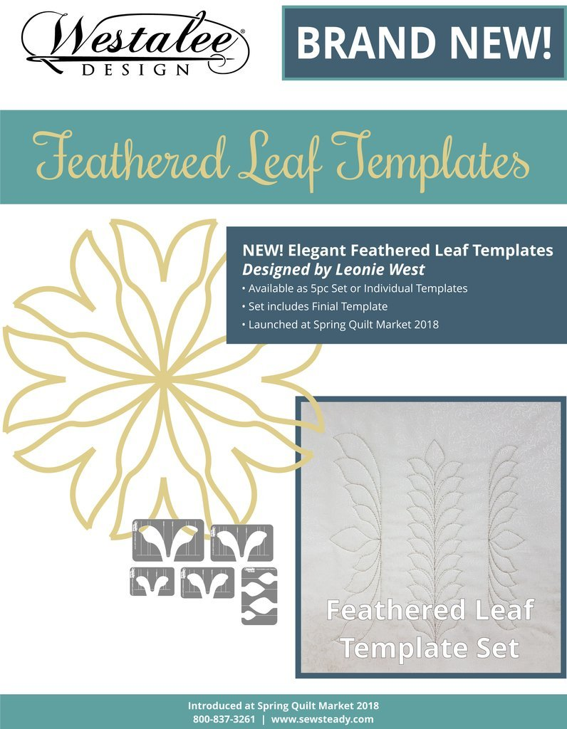 Westalee by Sew Steady - Feathered Leaf Template 4pc Set -  Longarm Foot