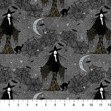 Elegantly Frightful - Grey with Witches - Glitter