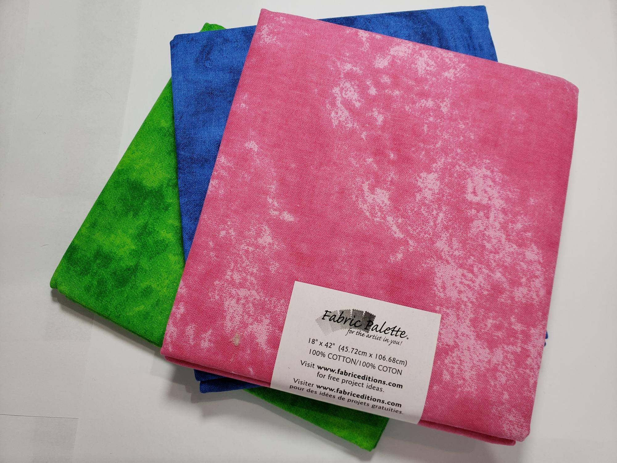 Half Yard Bundles (3 x 18x42) Pink/Blue/Grn