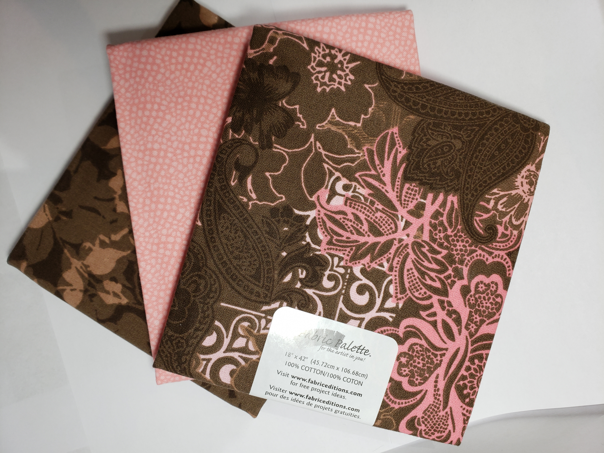 Half Yard Bundles (3 x 18x42) Pink/Brown