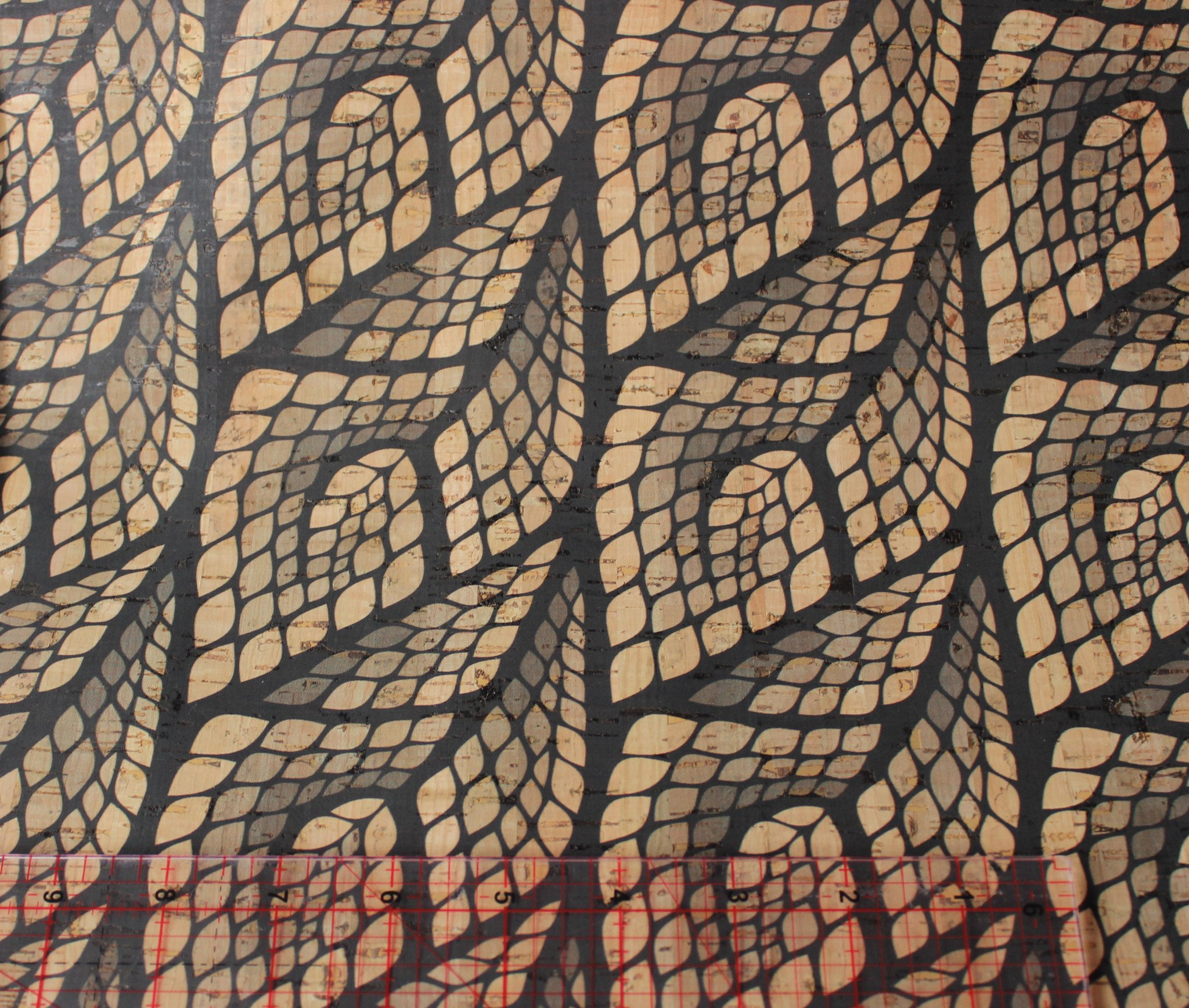Printed Mosaic Leaves Cork Fabric (18x18)