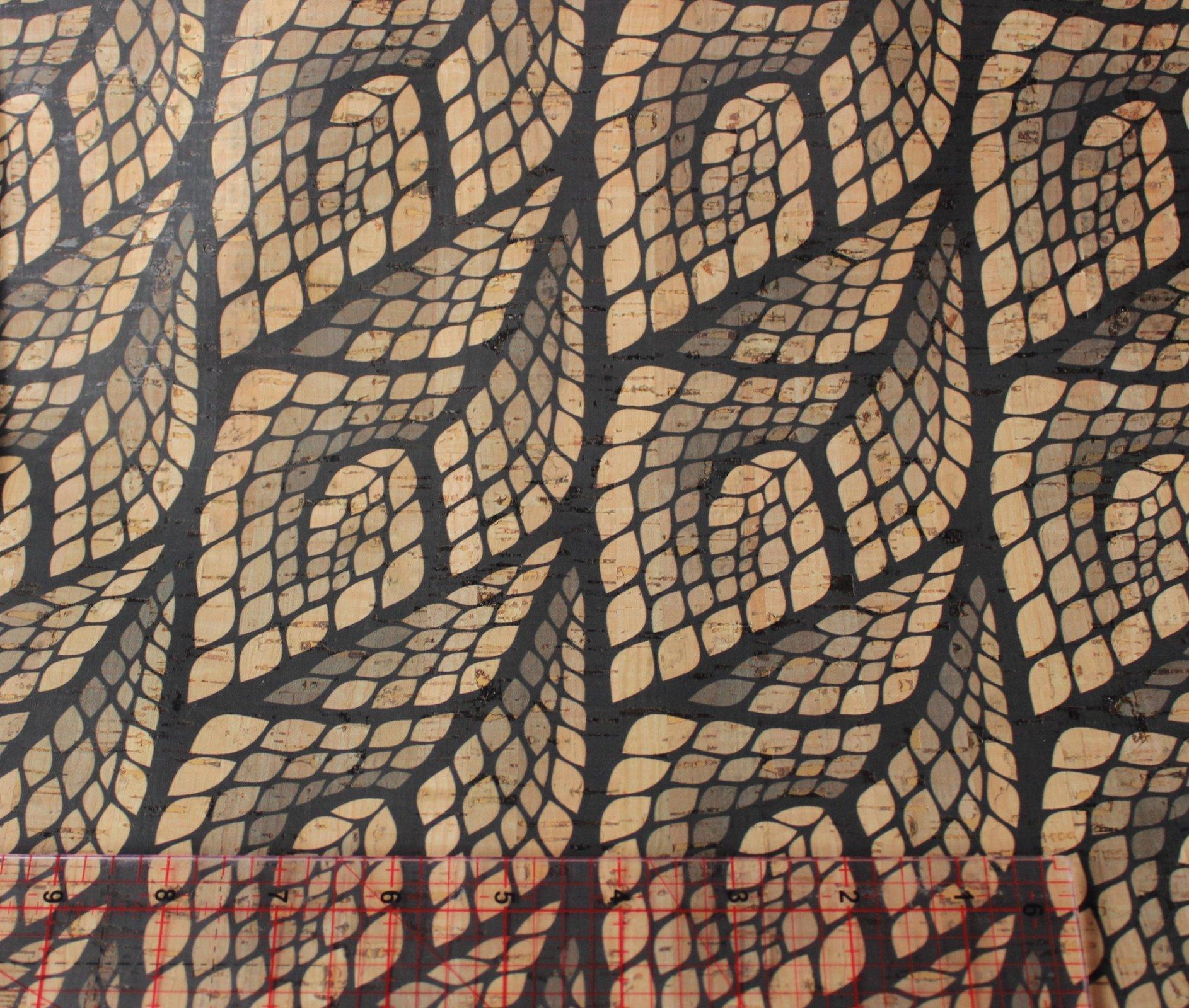 Printed Mosaic Leaves Cork Fabric (36x36)