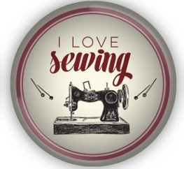 Sewing Themed Glass Magnet - I Love Sewing