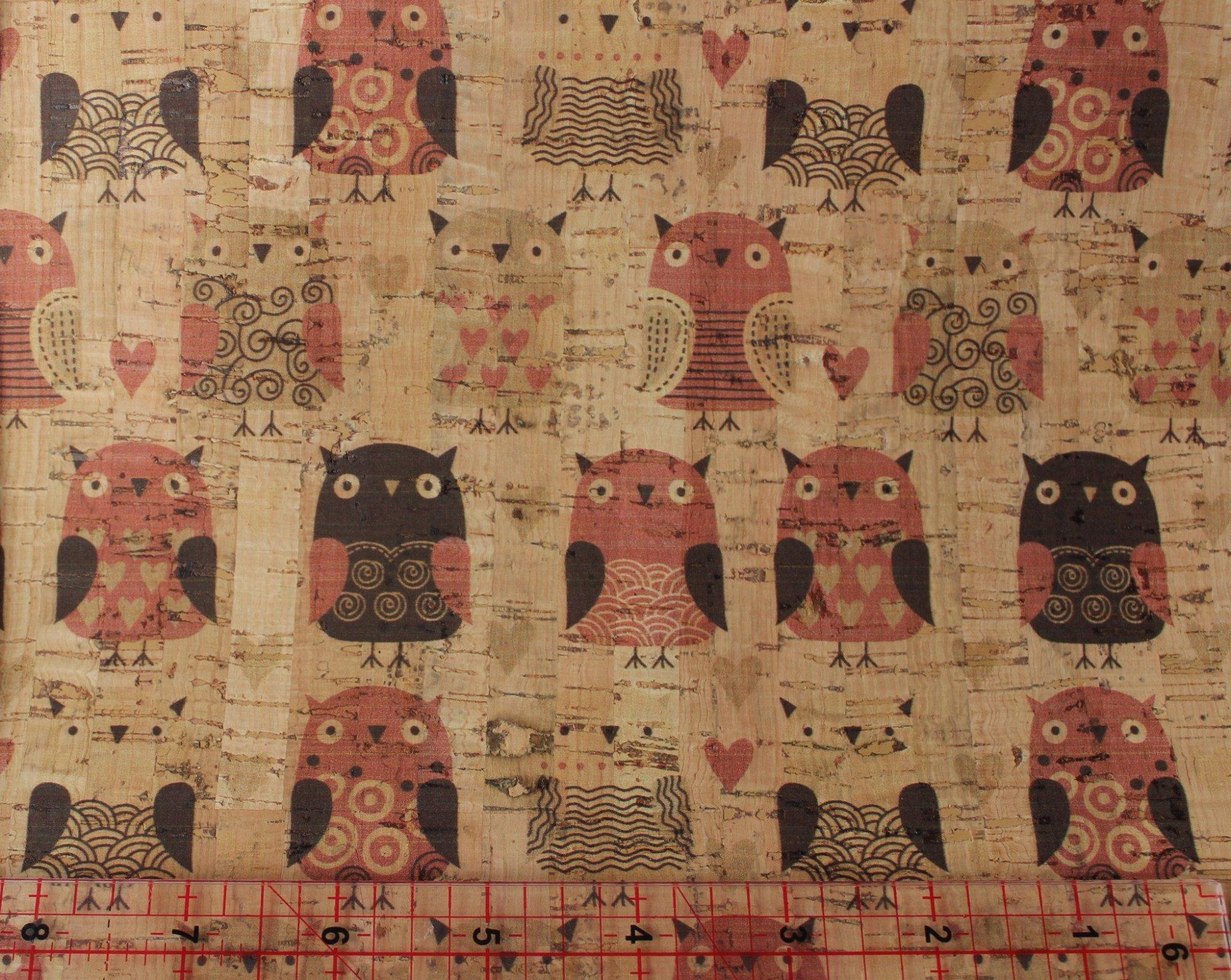Printed Owls Cork Fabric (36x36)