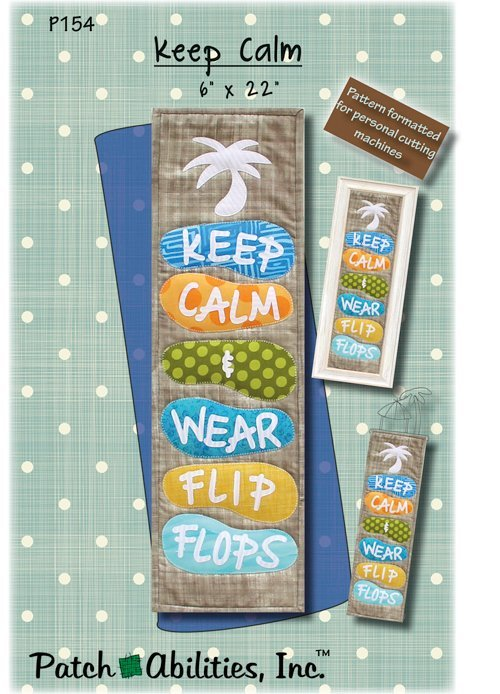 Patch Abilities - Keep Calm & Wear Flip Flops Pattern with Tiki Hut Hanger