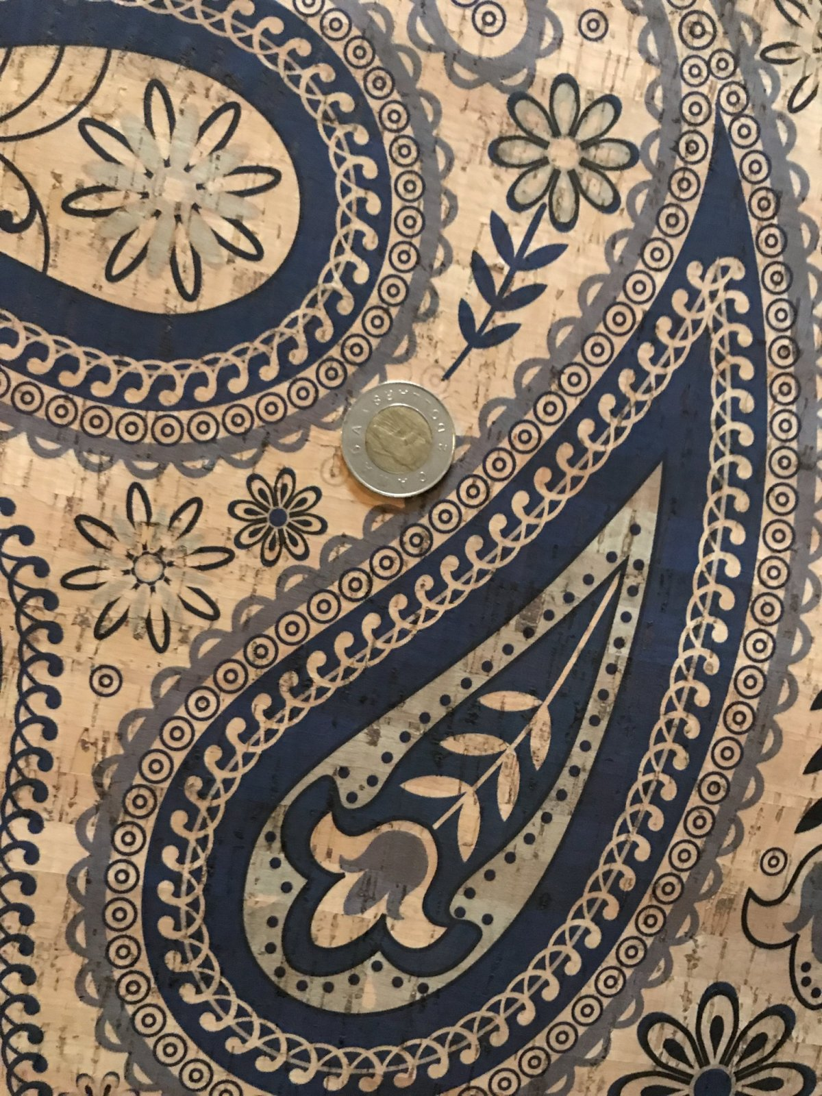 Printed Big Blue Paisley Cork Fabric (18x26)