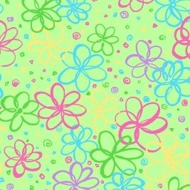 P&B Textiles Bloom Green with Multi Flowers